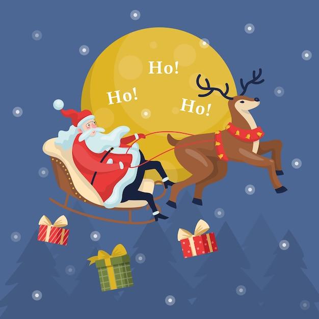 Babbo natale divertente in slitta e cervi in esecuzione. personaggio natalizio con regalo a cavallo nella neve. celebrazione delle vacanze invernali. sfondo cartolina di natale. illustrazione Vettore Premium