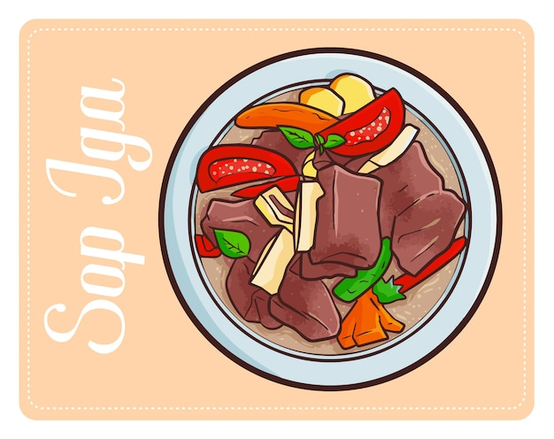 Divertente semplice gustoso sop iga una zuppa di costolette tradizionale dall'indonesia Vettore Premium