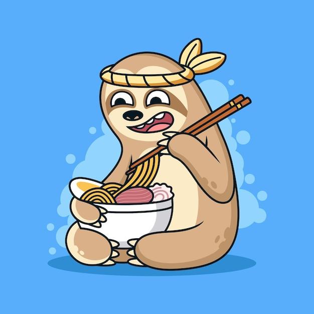 Illustrazione divertente dell'icona di bradipo. concetto di icona animale mangia la tagliatella con espressione carina Vettore Premium