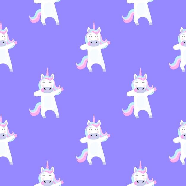 Divertente unicorno dabbing. modello senza cuciture per la decorazione della scuola materna per una ragazza o un ragazzo, per la progettazione di abbigliamento per bambini, cose Vettore Premium