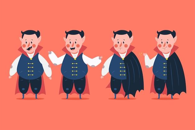 Caratteri divertenti del vampiro impostati sullo sfondo. Vettore Premium