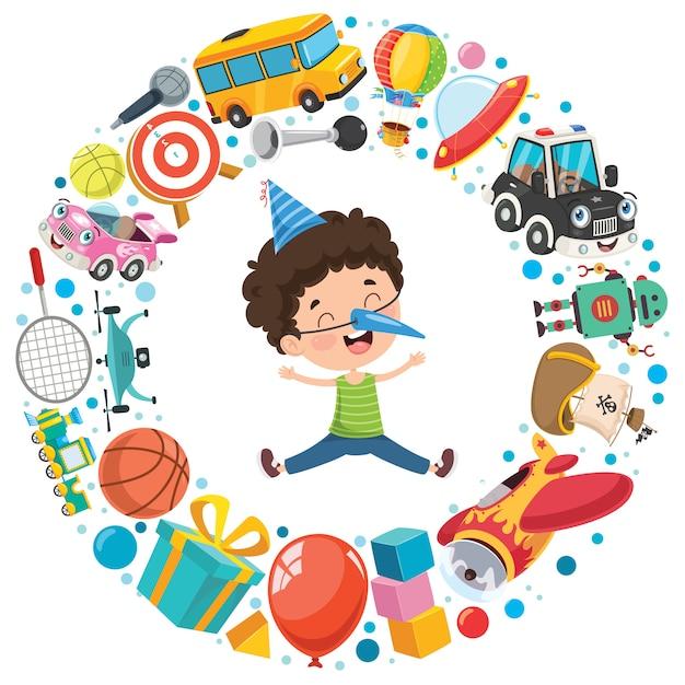 Divertenti giocattoli vari per bambini Vettore Premium