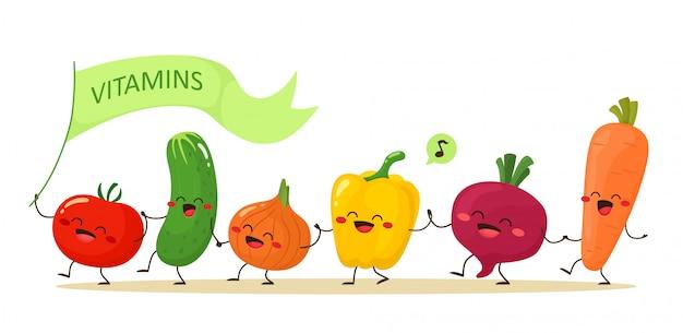 Verdure divertenti che camminano mano nella mano Vettore Premium