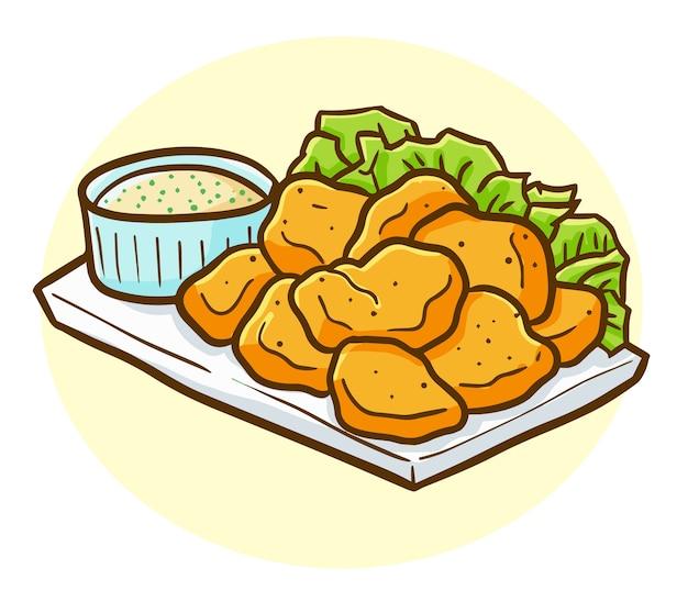 Pepita di pollo kawaii divertente e gustosa su un piatto pronto da mangiare Vettore Premium