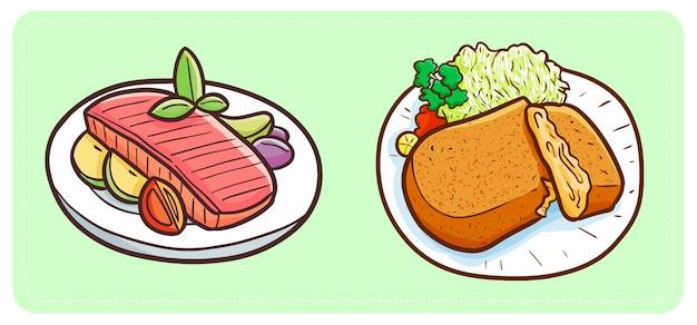 Carne fritta semplice divertente e gustosa con verdure e frutta pronta da mangiare. Vettore Premium