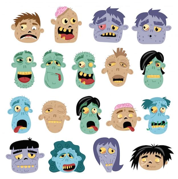 L'icona divertente dell'avatar dello zombie ha messo nello stile del fumetto Vettore Premium