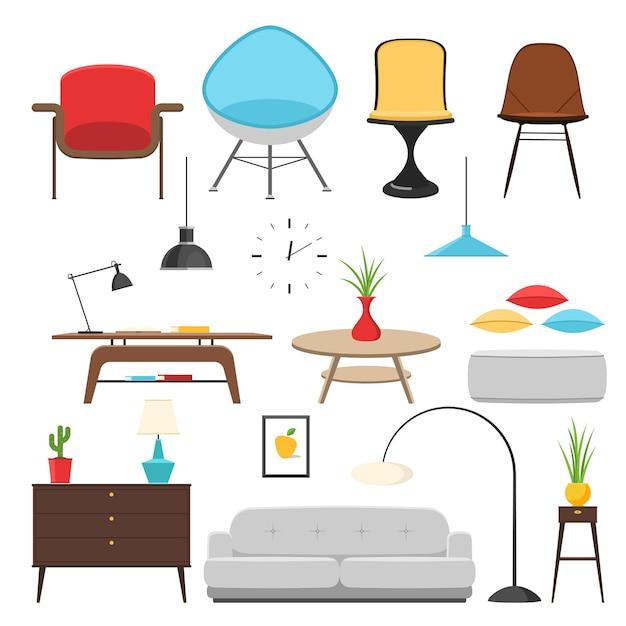Elementi di arredo interni di mobili e design della camera. Vettore Premium