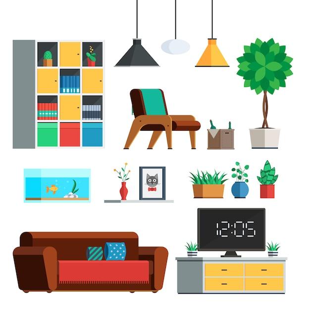 Set di mobili interni Vettore Premium