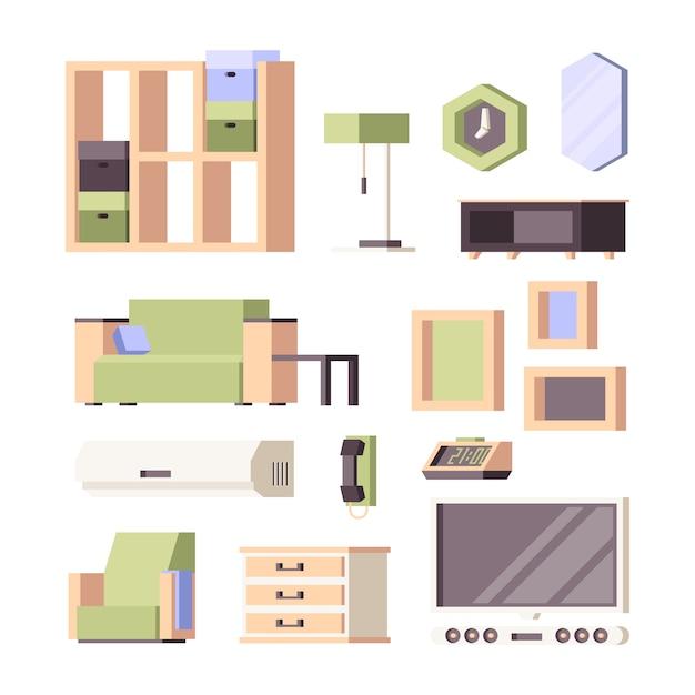 Mobilia . arredamento soggiorno piante d'appartamento sedie tavoli armadio letto sedie collezione ortogonale Vettore Premium