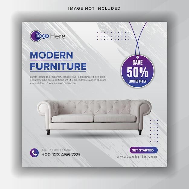 Banner di vendita di mobili o volantino quadrato per modello di post sui social media Vettore Premium
