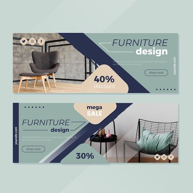 Collezione di banner di vendita di mobili con immagine Vettore Premium