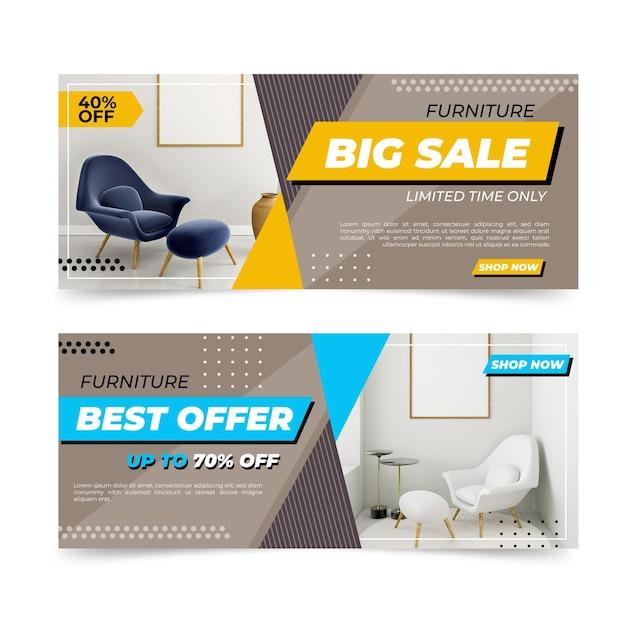 Collezione di banner di vendita di mobili con foto Vettore Premium