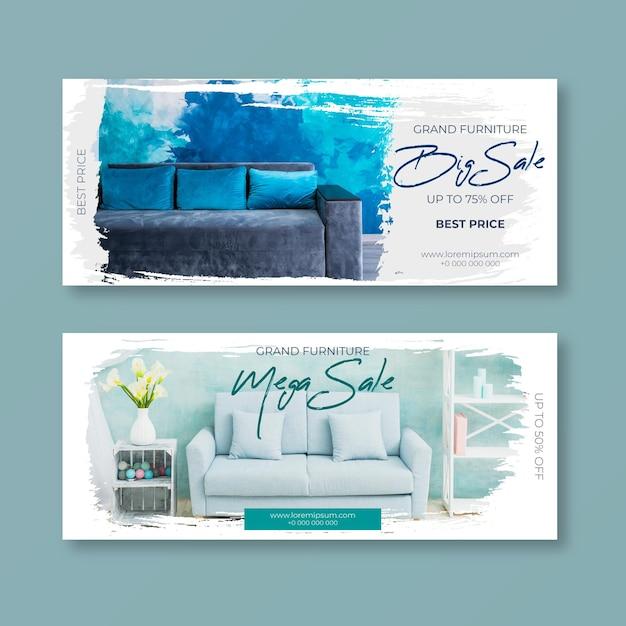 Pacchetto banner vendita mobili con foto Vettore Premium