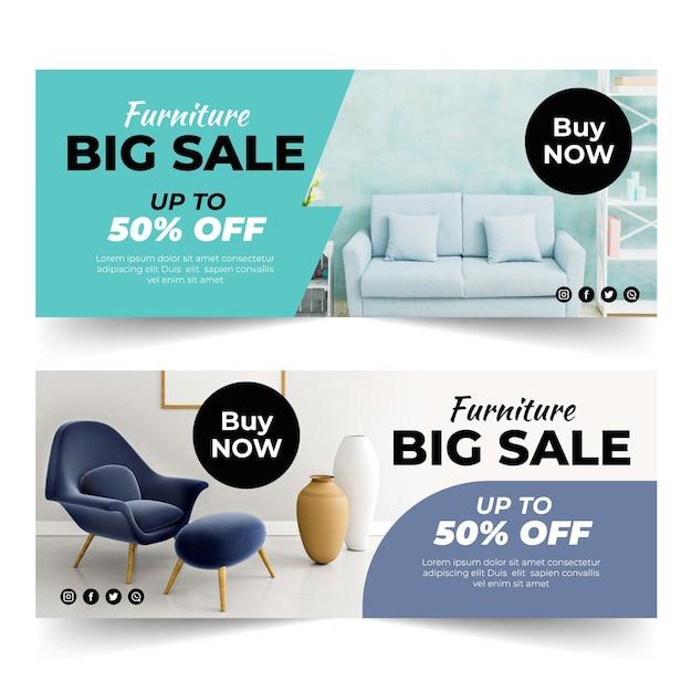 Modello di banner di vendita di mobili Vettore Premium