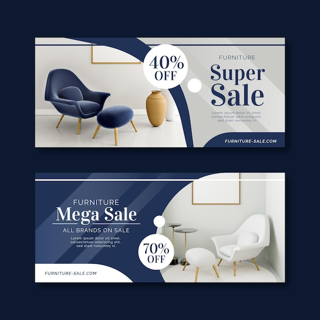 Banner di vendita di mobili con sconto Vettore Premium