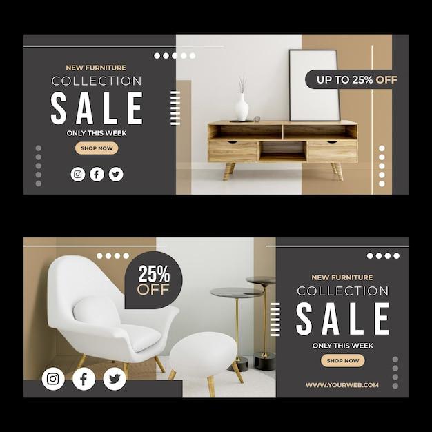 Banner di vendita di mobili Vettore Premium
