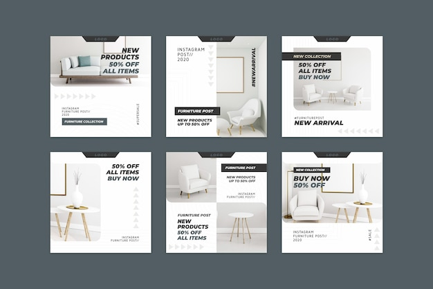 Vendita di mobili ig post collection Vettore Premium