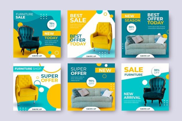 Vendita di mobili ig post set con immagine Vettore Premium