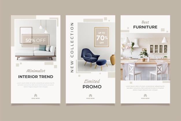 Collezione di storie di vendita di mobili con immagine Vettore Premium
