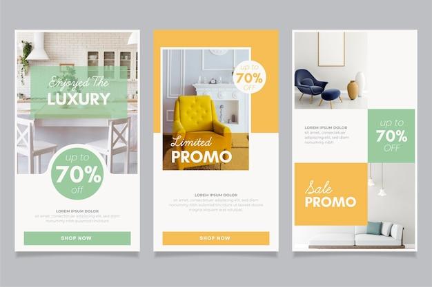 Collezione di storie di vendita di mobili con foto Vettore Premium