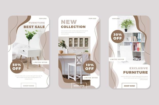 Vendita di mobili ig stories con foto Vettore Premium