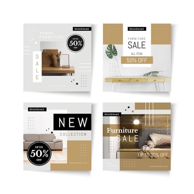 Collezione di post di instagram di vendita di mobili Vettore Premium