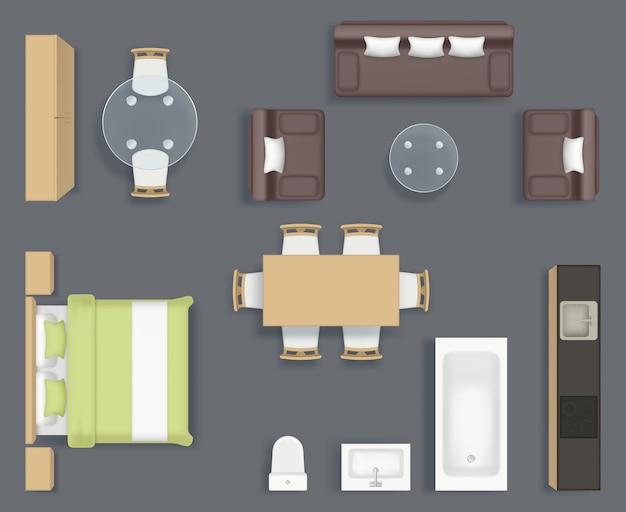 Vista dall'alto di mobili. cucina bagno e soggiorno oggetti interni sedia divano tavolo pianificazione raccolta di immagini realistiche. illustrazione mobili bagno e divano, piano interno Vettore Premium