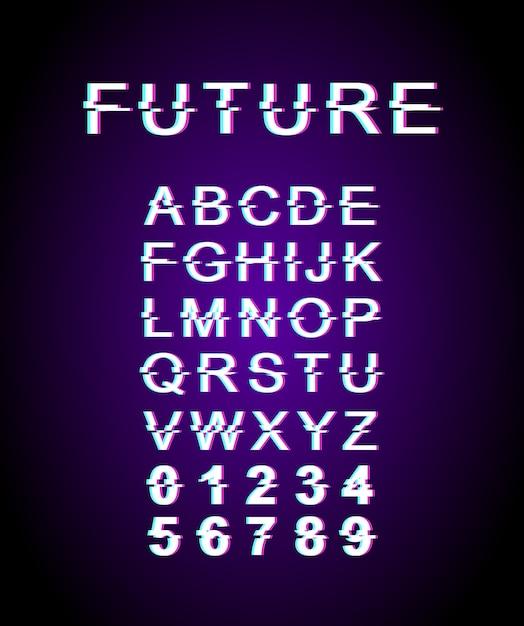 Modello di carattere glitch futuro. alfabeto in stile futuristico retrò impostato su sfondo viola. lettere maiuscole, numeri e simboli. design tipografico contemporaneo con effetto di distorsione Vettore Premium