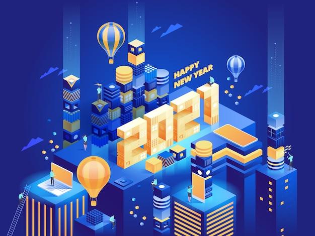 Città d'affari moderna astratta futuristica in vista isometrica. le persone lavorano a distanza o in ufficio, raggiungono il successo nella loro carriera. modello di illustrazione del personaggio Vettore Premium