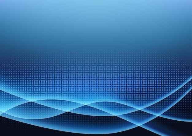 Priorità bassa d'ardore della luce blu futuristica Vettore Premium