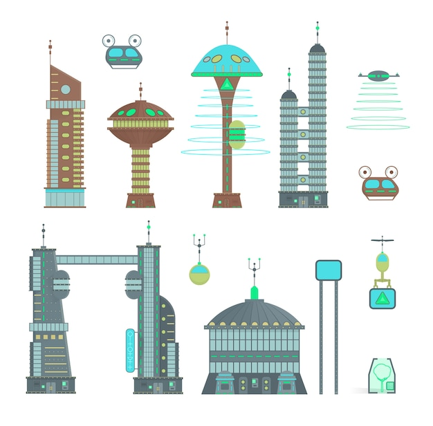 Città futuristica ambientata nello stile di design del fumetto. panorama di una città moderna con edifici moderni e traffico futuristico: grattacieli, macchine volanti e droni. Vettore Premium