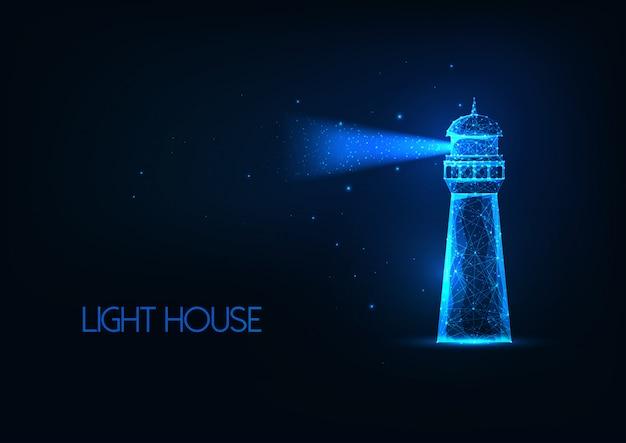 Futuristico incandescente lo casa di illuminazione poligonale con raggio di luce isolato su sfondo blu scuro. Vettore Premium
