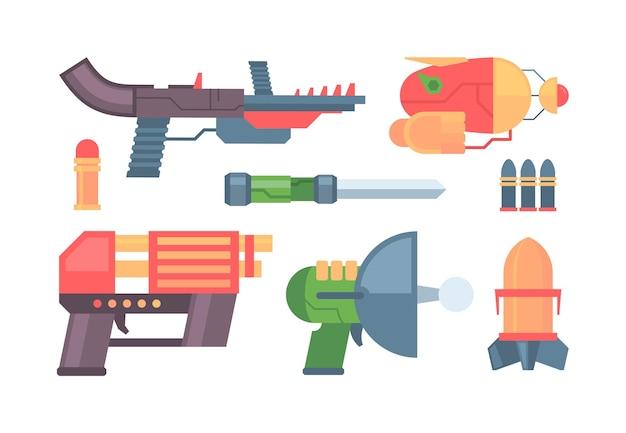Pistole futuristiche e design della collezione di armi Vettore Premium