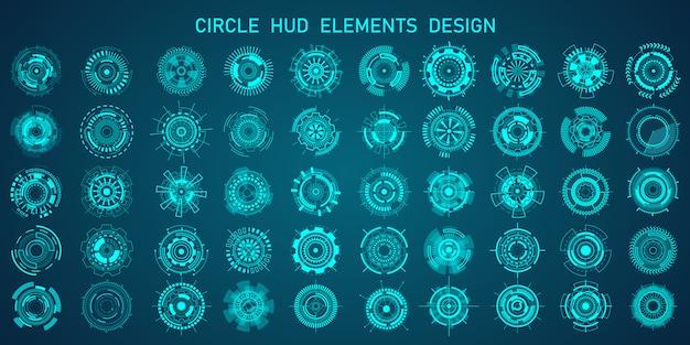 Titoli di evidenziazione in stile hud futuristico, barre informative e moderni modelli di layout di frame di informazioni digitali. Vettore Premium