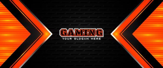 Modello di banner di social media intestazione di gioco futuristico arancione e nero Vettore Premium