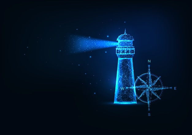 Concetto futuristico di avventura del mare con casa di illuminazione poligonale bassa incandescente e rosa dei venti isolato su sfondo blu scuro. moderna rete metallica. Vettore Premium