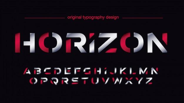 Tipografia sportiva futuristica argento e rosso Vettore Premium
