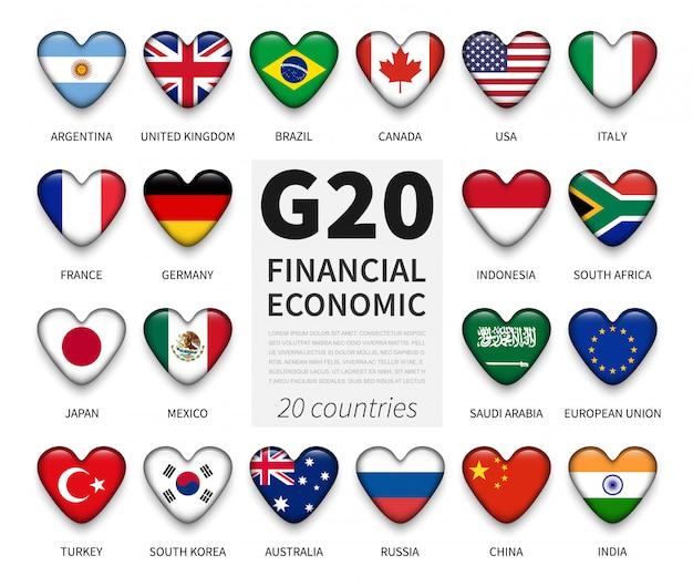 G20. gruppo di venti paesi e bandiera di appartenenza. associazione internazionale di governo economica e finanziaria Vettore Premium