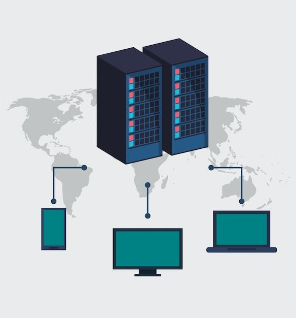 Gadget e big data Vettore Premium