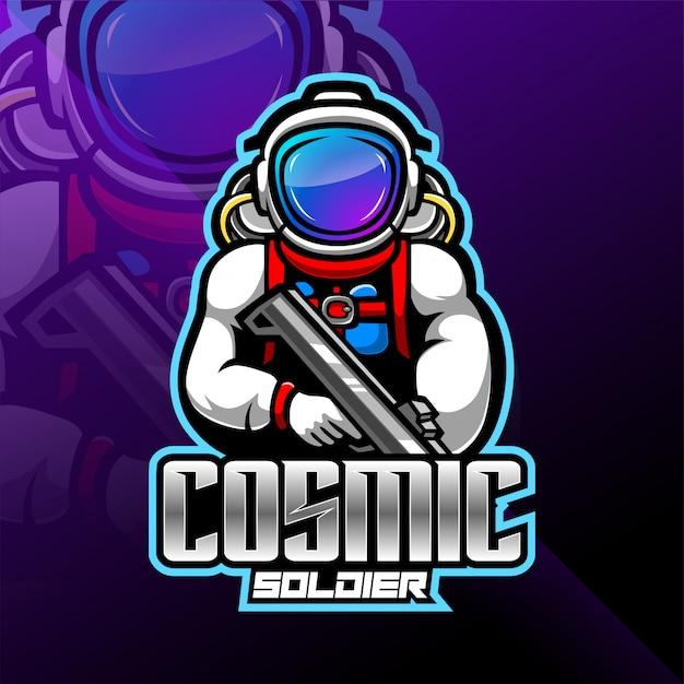 Logo della galassia astronauta esport mascotte Vettore Premium
