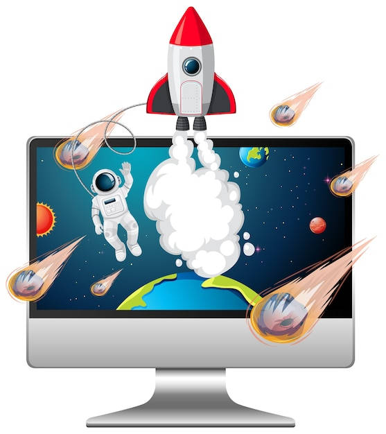 Sfondo galaxy sullo schermo del computer Vettore Premium