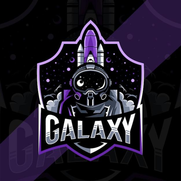 Galaxy mascot logo design modello esport Vettore Premium
