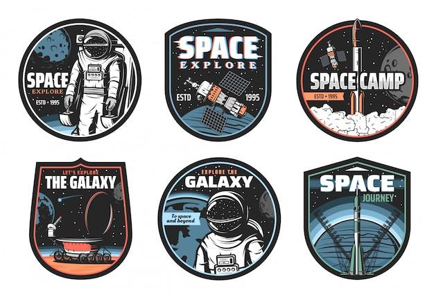 Icone di vettore di galassia, spazio, astronauta e razzo Vettore Premium