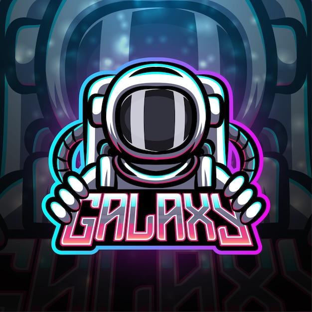 Design del logo mascotte sport galaxy Vettore Premium