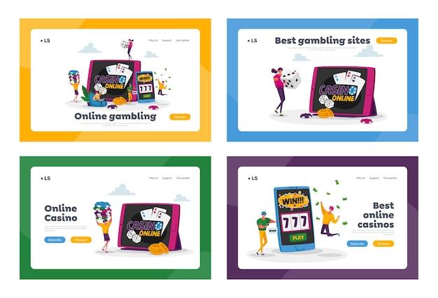 Set di modelli di pagina di destinazione della dipendenza dal giocatore di gioco d'azzardo Vettore Premium