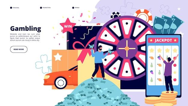 Pagina di destinazione del gioco d'azzardo. Vettore Premium
