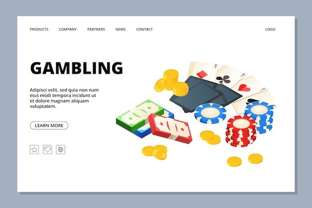 Modello di pagina web di gioco d'azzardo. pagina di destinazione del casinò. pagina web del gioco d'azzardo dell'illustrazione Vettore Premium