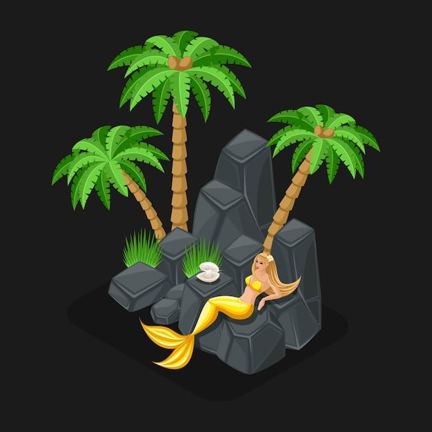 Concetto di gioco di un cartone animato con un personaggio fiabesco, una sirena custodisce una perla, una ragazza, il mare, le isole, le pietre. illustrazione Vettore Premium