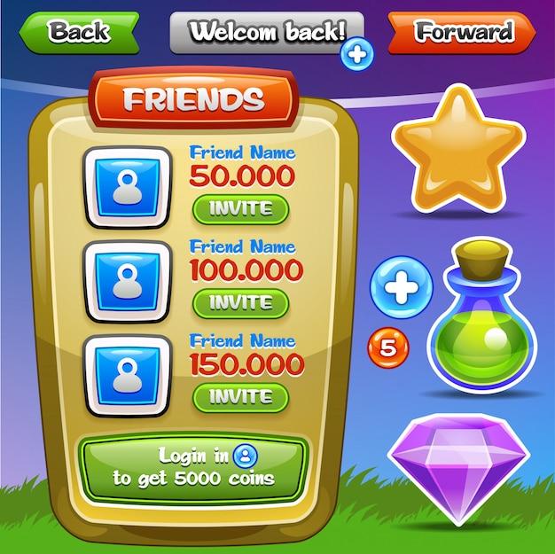 Interfaccia utente del gioco. pulsanti dell'interfaccia impostati per giochi o app. facile da modificare. illustrazione . Vettore Premium