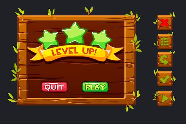 Kit dell'interfaccia utente del gioco. menu in legno modello dell'interfaccia utente grafica gui e pulsanti per creare giochi. Vettore Premium